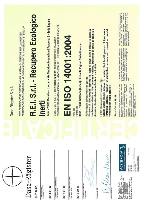 REI Srl - Certificazione ISO 14001:2004