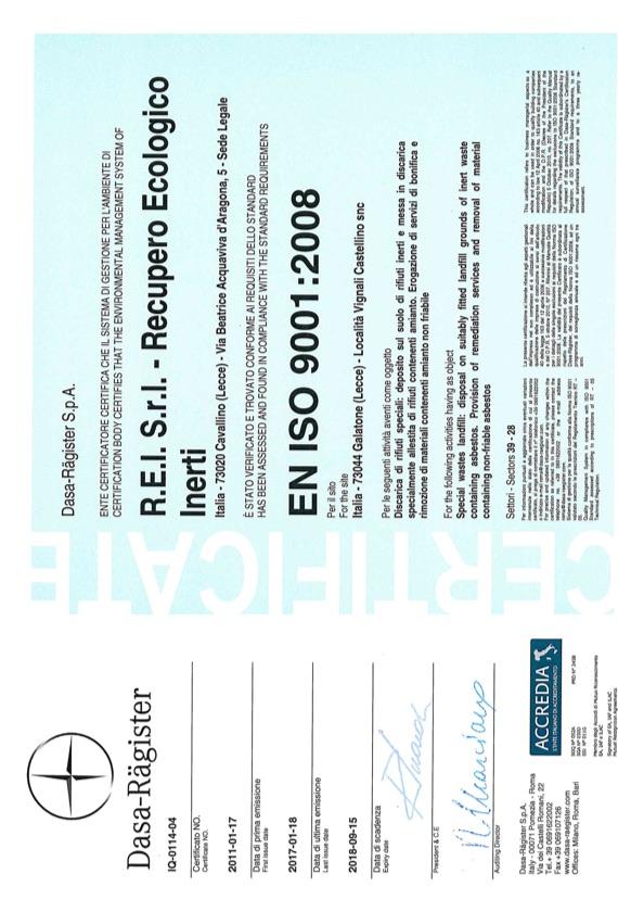 REI Srl - Certificazione ISO 9001:2008