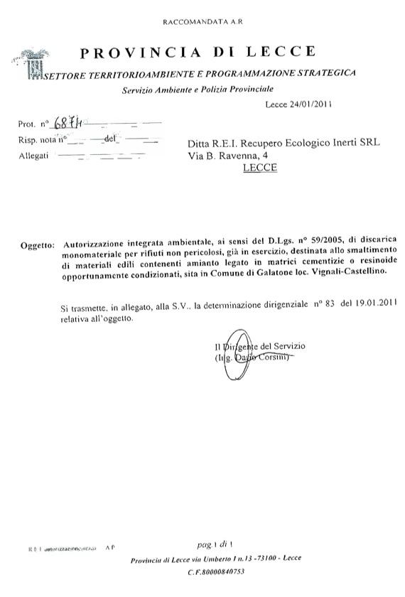 REI Srl - Determina Dirigenziale 083