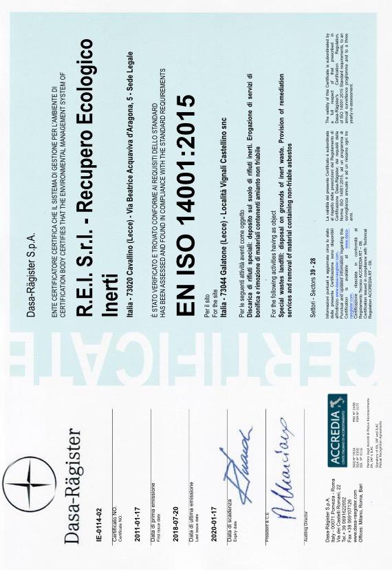 REI Srl - Certificazione ISO 14001:2015