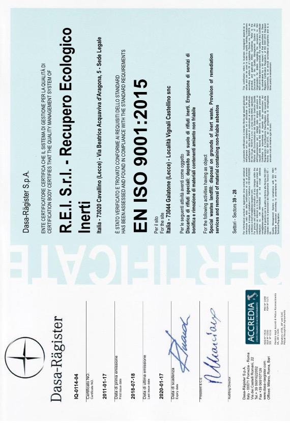 REI Srl - Certificazione ISO 9001:2015