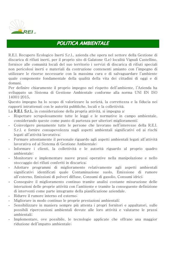 REI Srl - Politica Ambientale