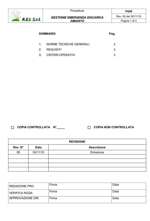 REI Srl - Procedura Gestione Emergenza Discarica Amianto
